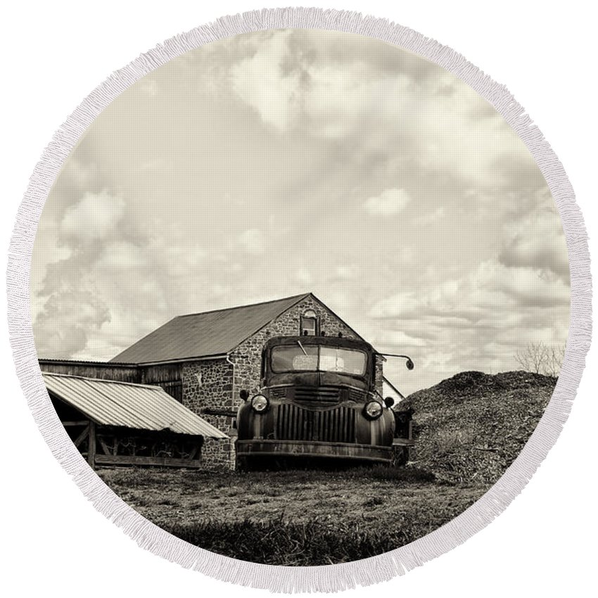 Farm Round Beach Towel featuring the photograph Farm Truck - 1941 Chevy In Sepia by Bill Cannon