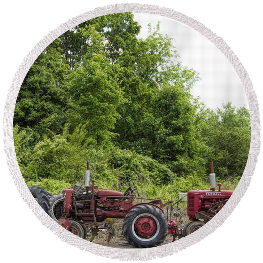 Farmall Round Beach Towel featuring the photograph Farmall Tractors All In A Row by Kathy Clark