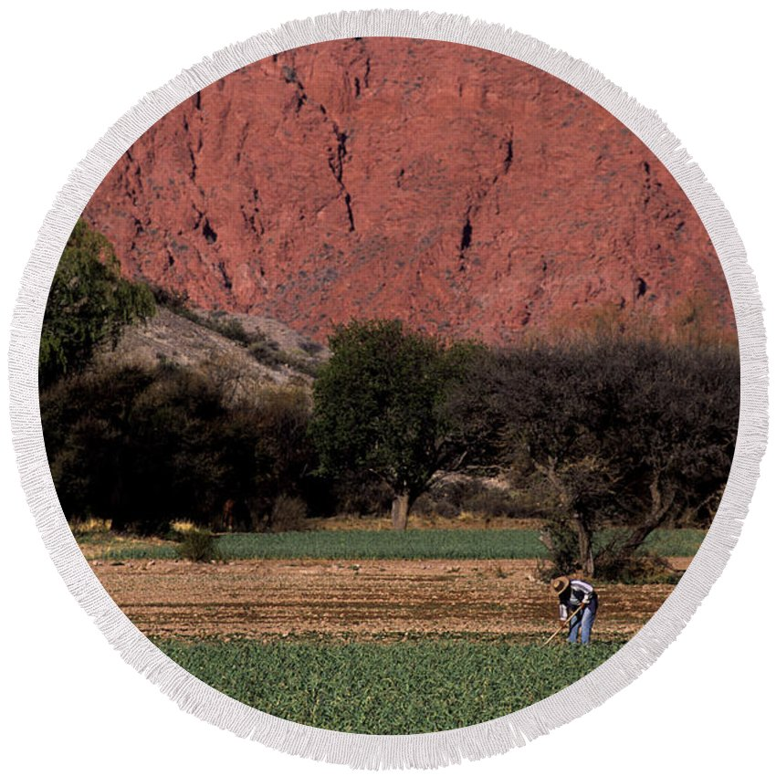 Argentina Round Beach Towel featuring the photograph Farmer In Field In Northern Argentina by James Brunker
