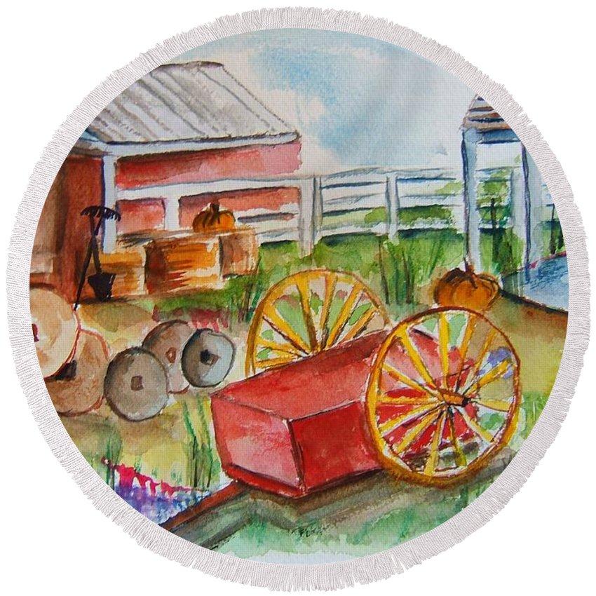Farm Round Beach Towel featuring the painting Farmers Backyard by Elaine Duras