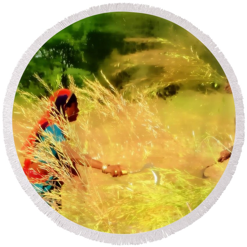Harvest Round Beach Towel featuring the photograph Farmers Fields Harvest India Rajasthan 1a by Sue Jacobi