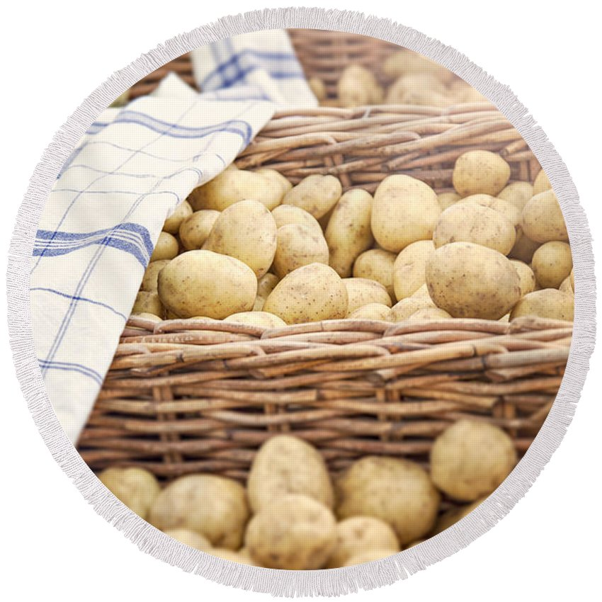 Crop Round Beach Towel featuring the photograph Farmers Potatoes by Sophie McAulay