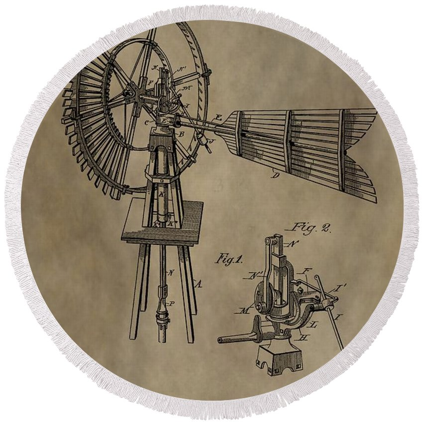 Antique Windmill Patent Round Beach Towel featuring the digital art Farmer's Windmill by Dan Sproul