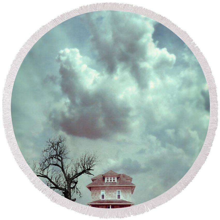 House Round Beach Towel featuring the photograph Farmhouse And Tree by Jill Battaglia