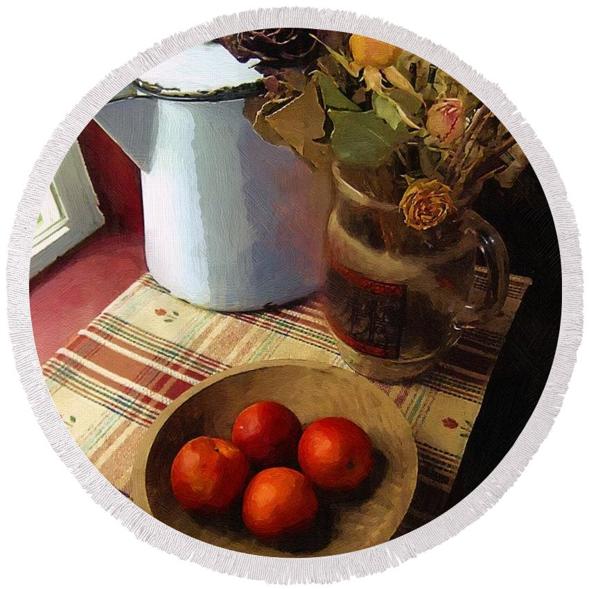 Still Life Round Beach Towel featuring the painting Farmhouse Fruit And Flowers by RC DeWinter