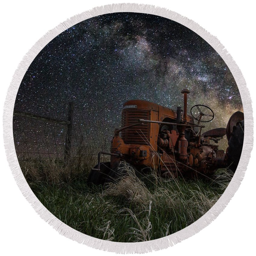Tractor Round Beach Towel featuring the photograph Farming the Rift by Aaron J Groen