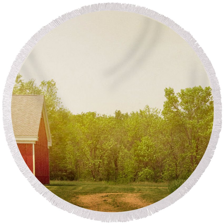 Barn; Building; Farm; Dirt; Drive; Driveway; Road; Grass; Trees; Yard; Nature; Country; Countryside; Red; Wood; Side; Cloudy Round Beach Towel featuring the photograph Farmland by Margie Hurwich