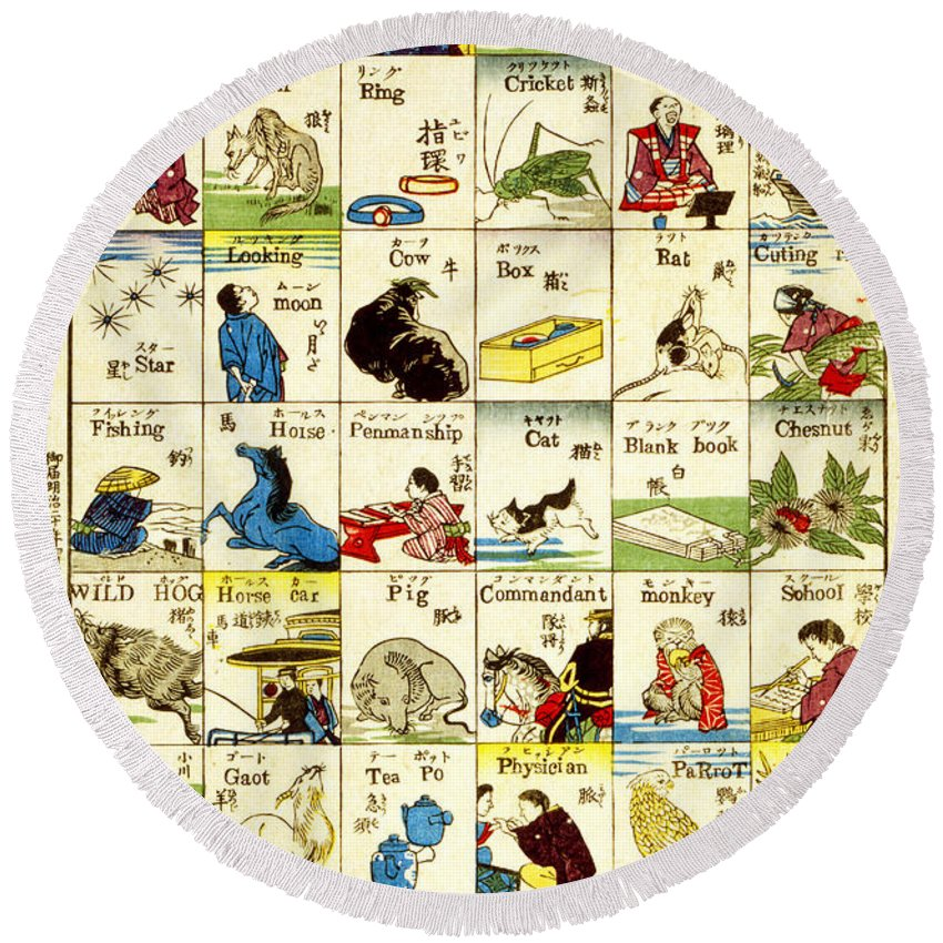 Japanese Round Beach Towel featuring the digital art Fashionable Melange Of English Words 1887 by Georgia Fowler