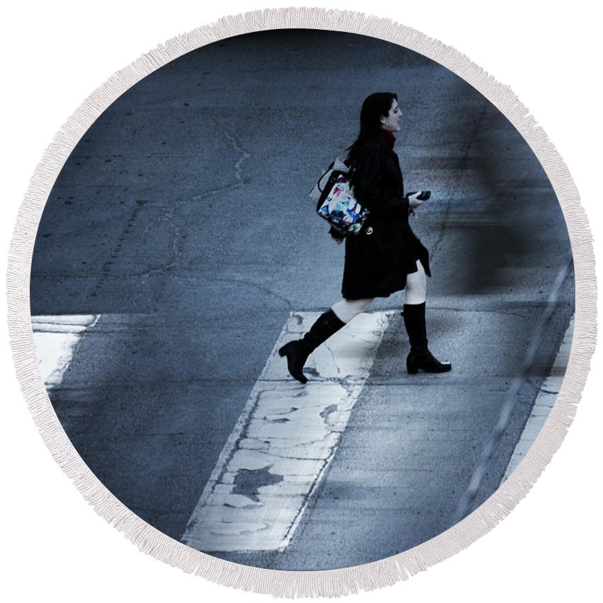 Street Photography Round Beach Towel featuring the photograph Fast It Went by The Artist Project