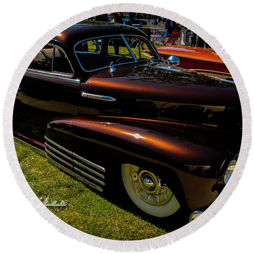 Customikes Round Beach Towel featuring the photograph Fastback In Kandy by Customikes Fun Photography and Film Aka K Mikael Wallin