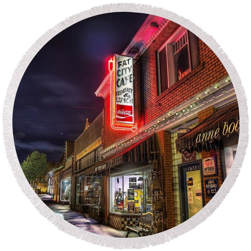 Fat Round Beach Towel featuring the photograph Fat City Cafe by Doc Braham