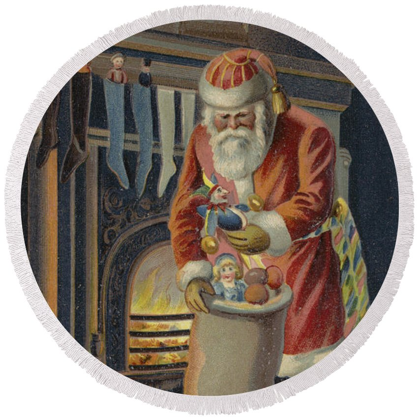 Postcard; Father Christmas; Santa Claus; Presents; Sack; Stocking; Fire; Place; Grate; Clock; Filling; Children; Stockings; Christmas Round Beach Towel featuring the painting Father Christmas Filling Children's Stockings by English School