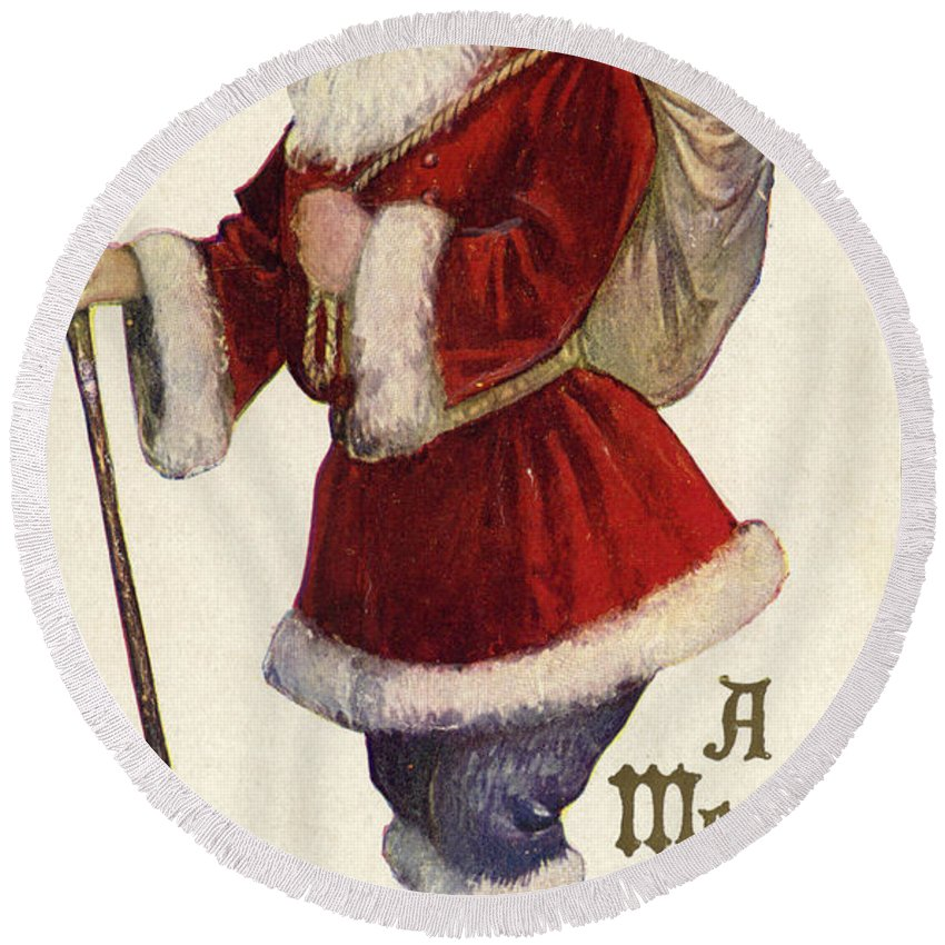 Postcard; Father Christmas; Bag; Toys; Santa Claus; Stick; Presents Round Beach Towel featuring the painting Father Christmas With A Bag Of Toys by English School