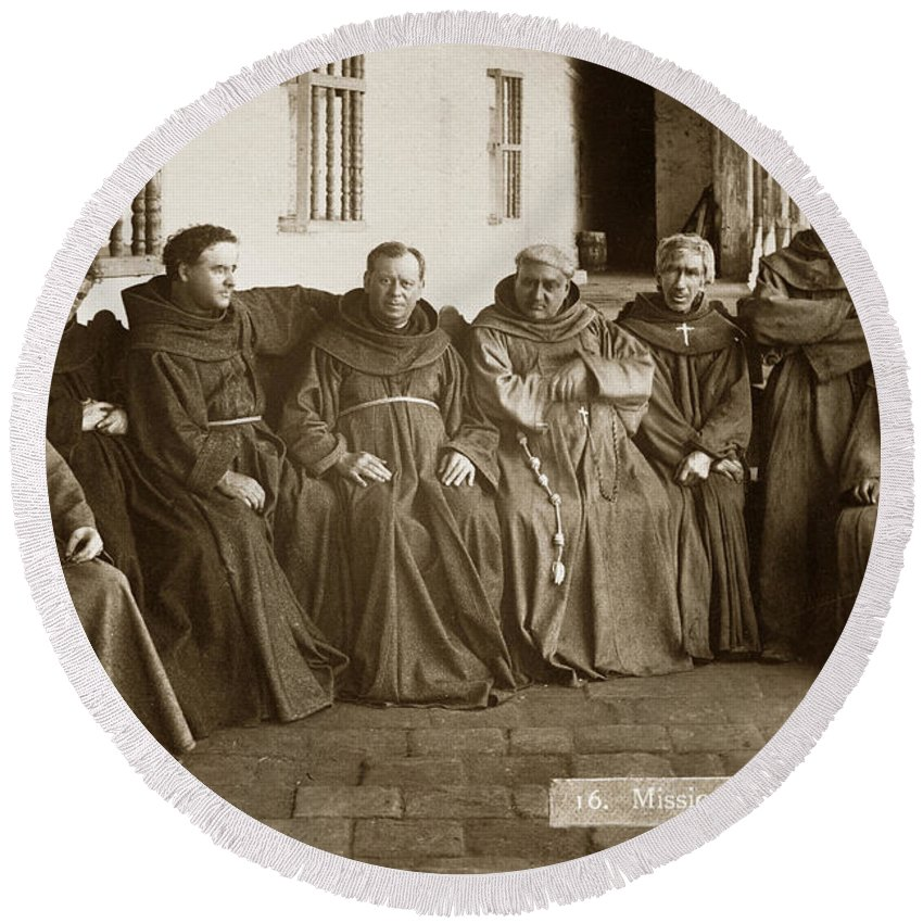 Fathers O'keefe Round Beach Towel featuring the photograph Fathers O'keefe And Sanchez With The Franciscan Brothers Of Mission Santa Barbara 1883 by California Views Mr Pat Hathaway Archives