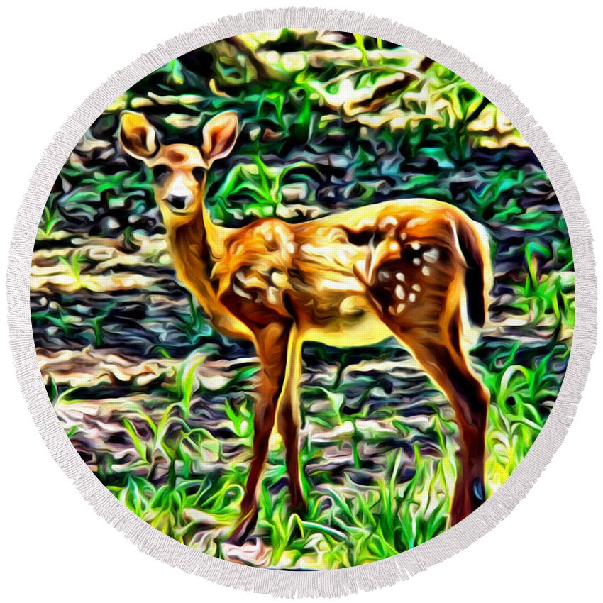 Deer Fawn Animal Scenic Woods Alicegipsonphotographs Round Beach Towel featuring the photograph Fawn In The Woods by Alice Gipson