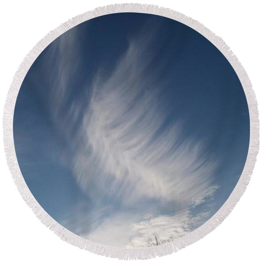 Angel Round Beach Towel featuring the photograph Feather Cloud By Diane Schiabor by Eric Schiabor