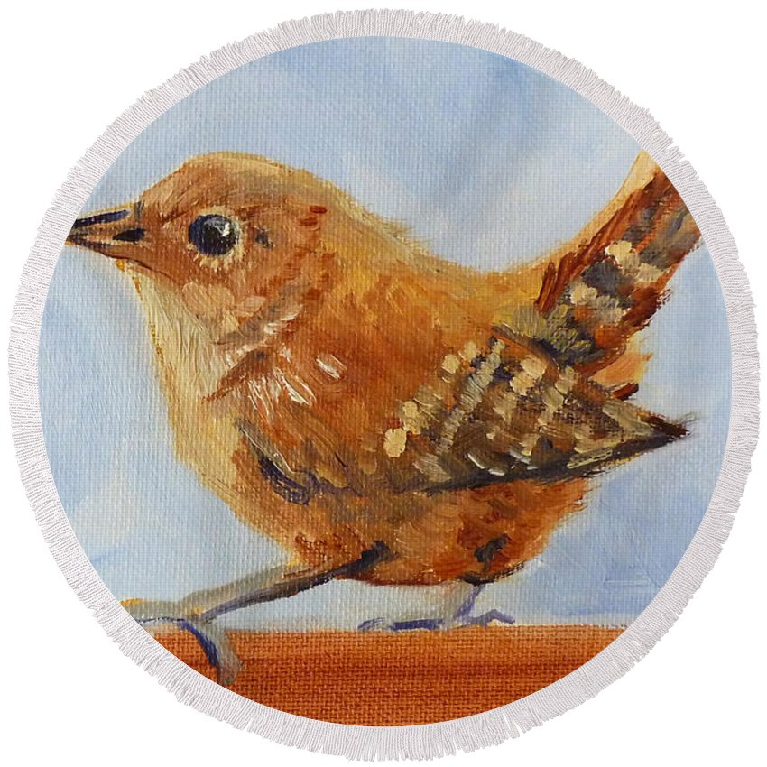 Bird Round Beach Towel featuring the painting Feathered by Nancy Merkle