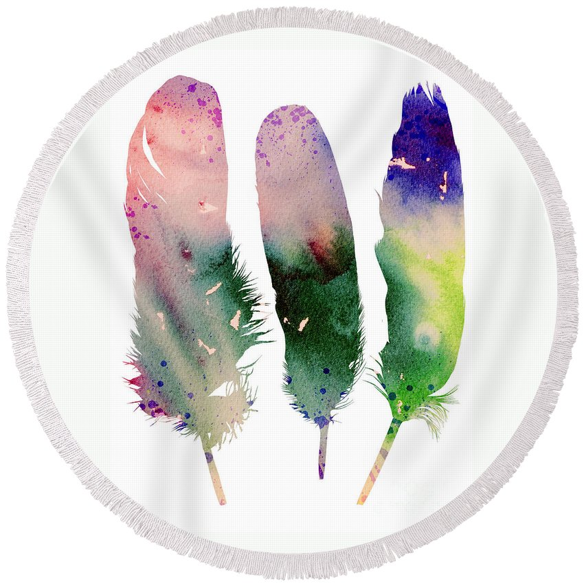 Feathers 4 Round Beach Towel