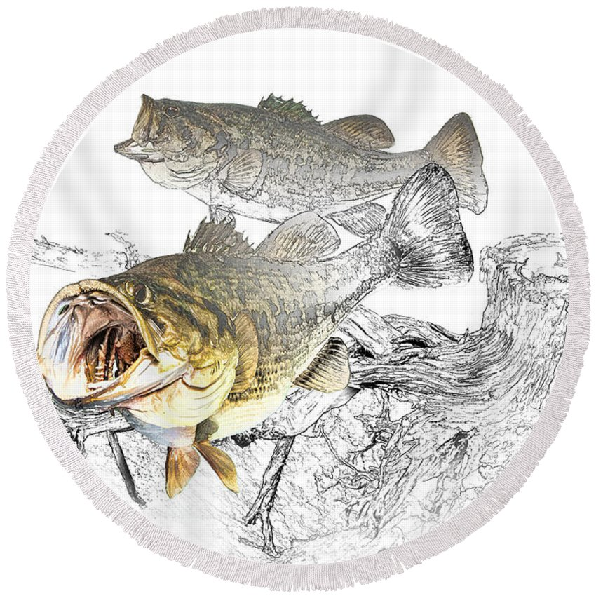 Fish Round Beach Towel featuring the photograph Feeding Largemouth Black Bass by Randall Nyhof