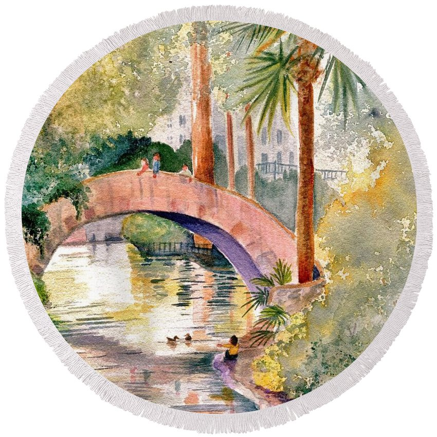 River Round Beach Towel featuring the painting Feeding The Ducks by Marilyn Smith