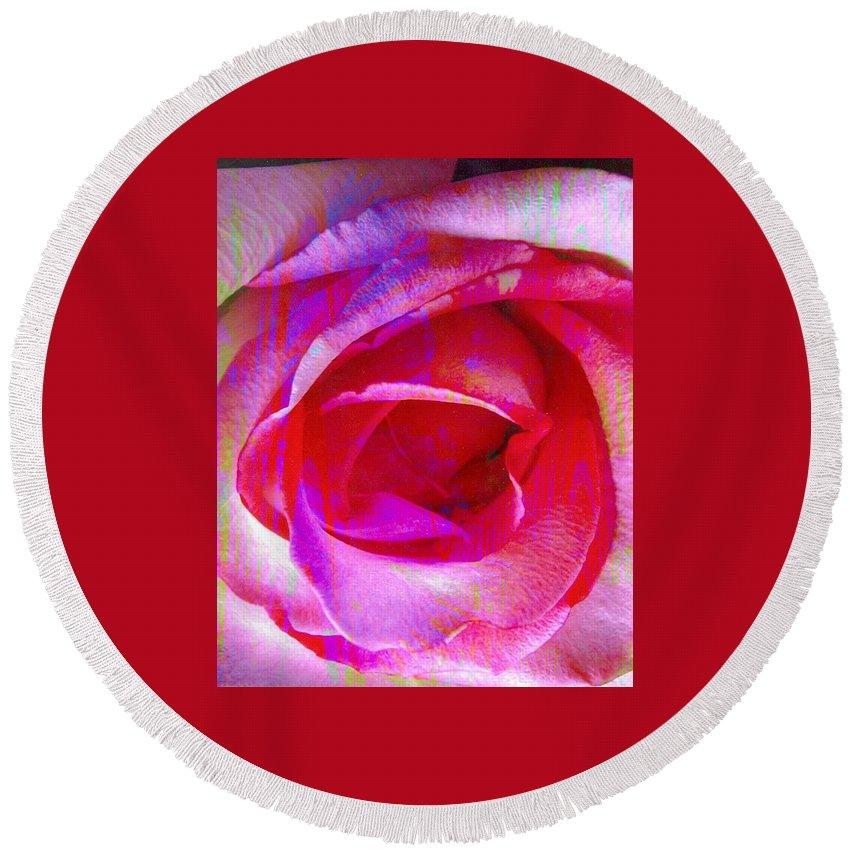 Rose Flower Round Beach Towel featuring the digital art Feelings by Yael VanGruber