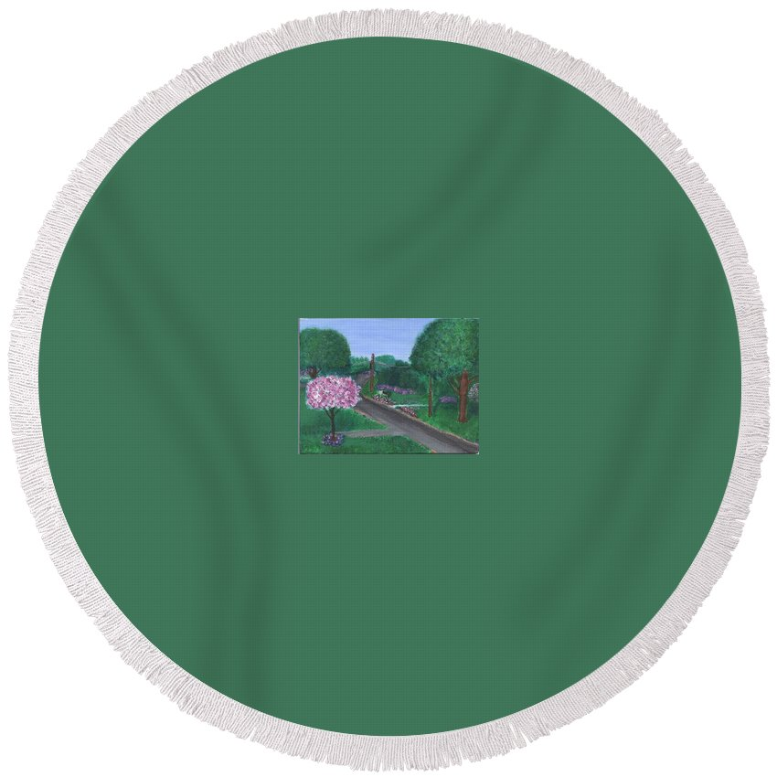 Plein Aire Round Beach Towel featuring the painting Fellowship by Sheila Mashaw