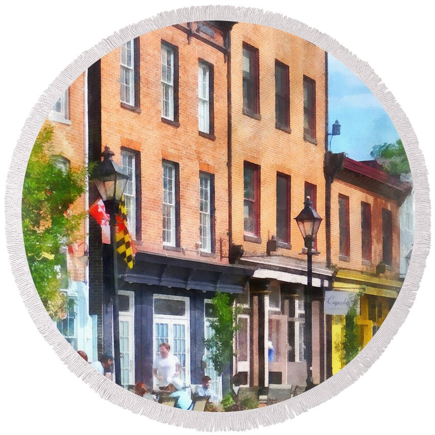 Fells Point Round Beach Towel featuring the photograph Fells Point Street by Susan Savad