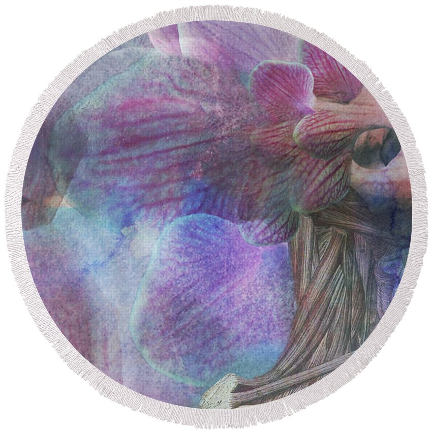 Surreal Round Beach Towel featuring the digital art Female Beauty by Michael Volpicelli