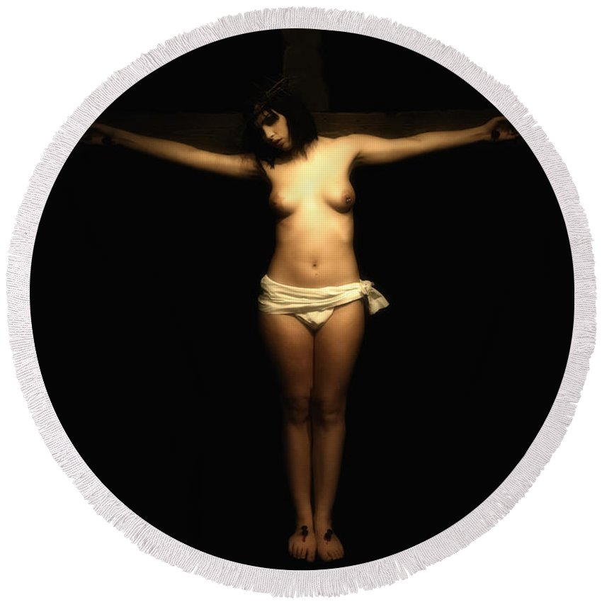 Crucifixion Round Beach Towel featuring the photograph Female Crucifix I by Ramon Martinez