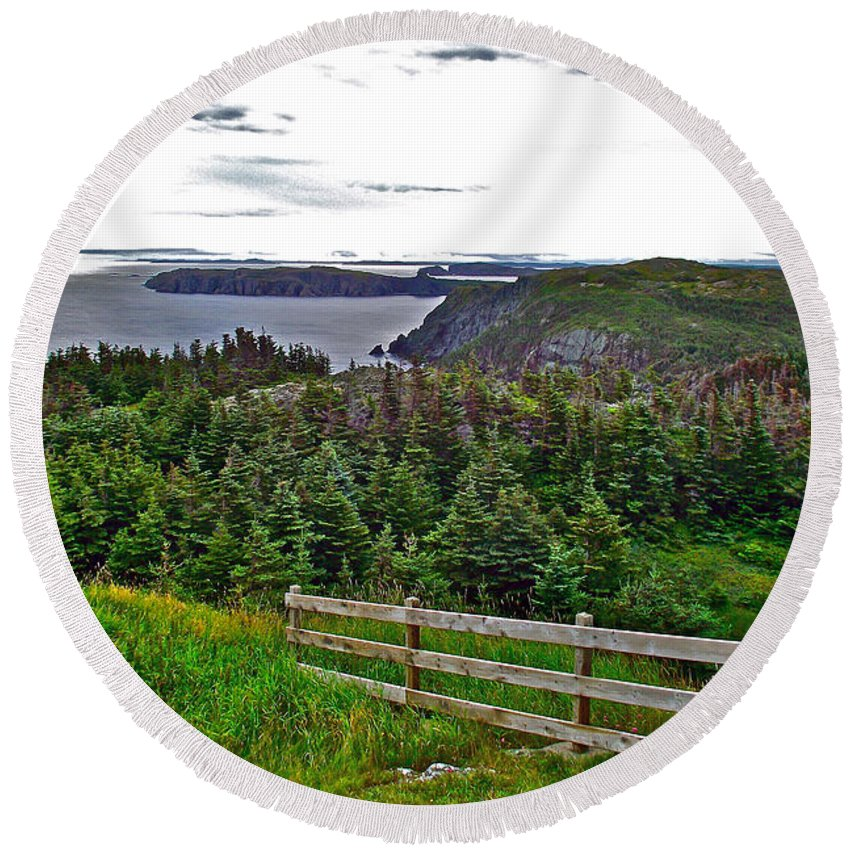 Fence In Fields At Long Point In Twillingate Round Beach Towel featuring the photograph Fence In Fields At Long Point In Twillingate-nl by Ruth Hager