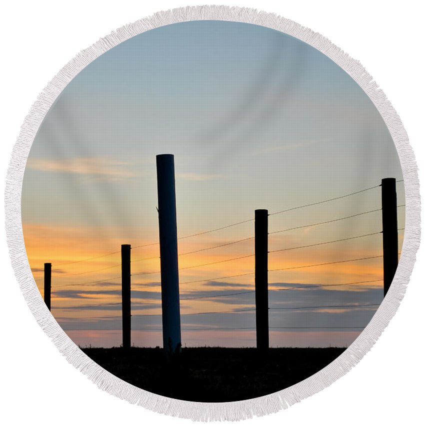 Fence Round Beach Towel featuring the photograph Fence Posts At Sunset by Wayne King