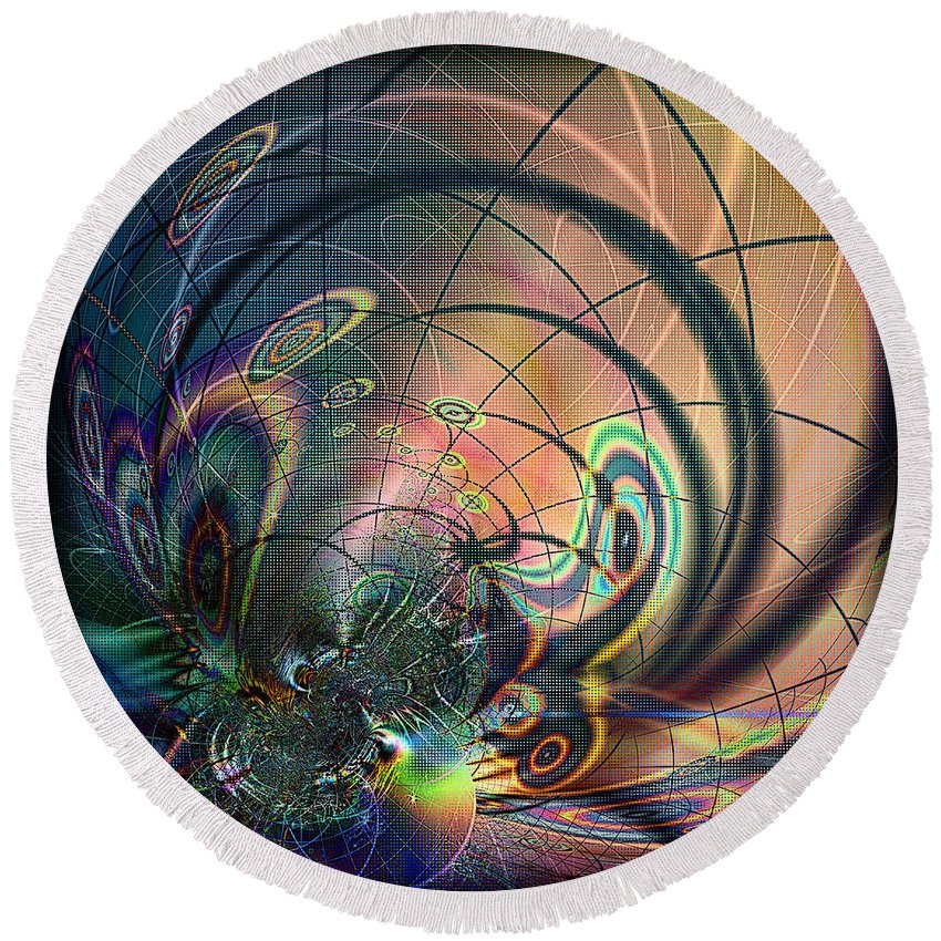 Abstract Round Beach Towel featuring the digital art Fenced In by Kiki Art