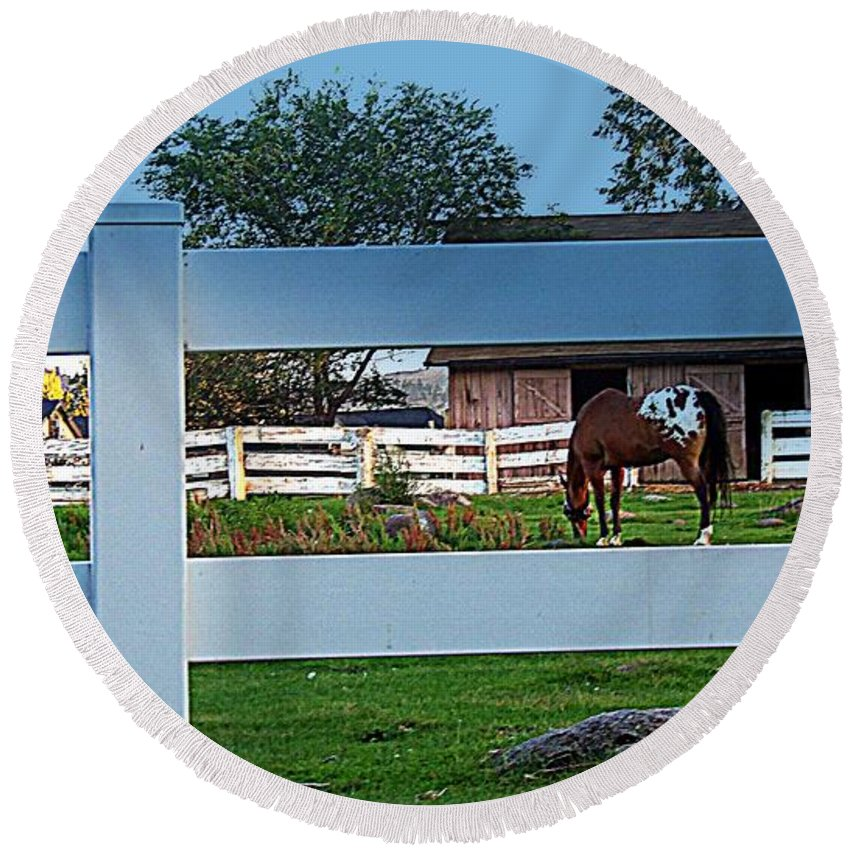 Barn Round Beach Towel featuring the photograph Fences by Bobbee Rickard