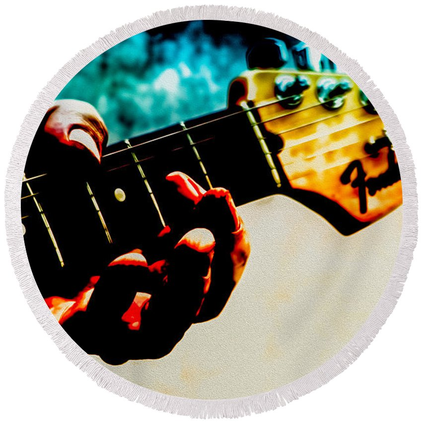 Fender Round Beach Towel featuring the photograph Fender Strat by Bob Orsillo