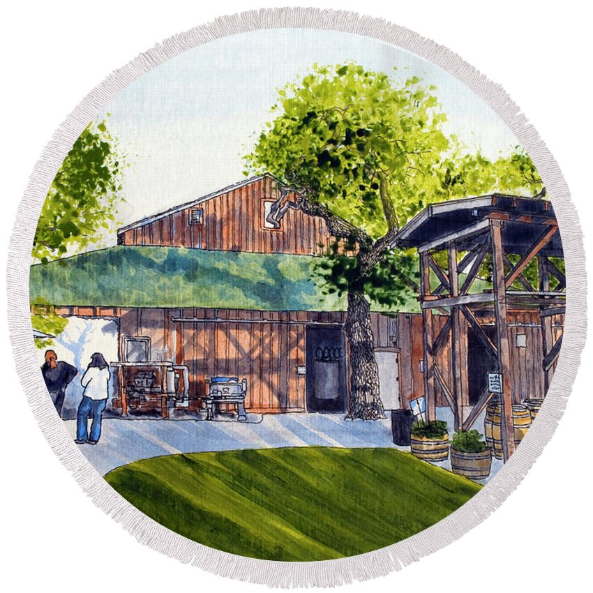 Fenestra Round Beach Towel featuring the painting Fenestra Winery by Mike Robles