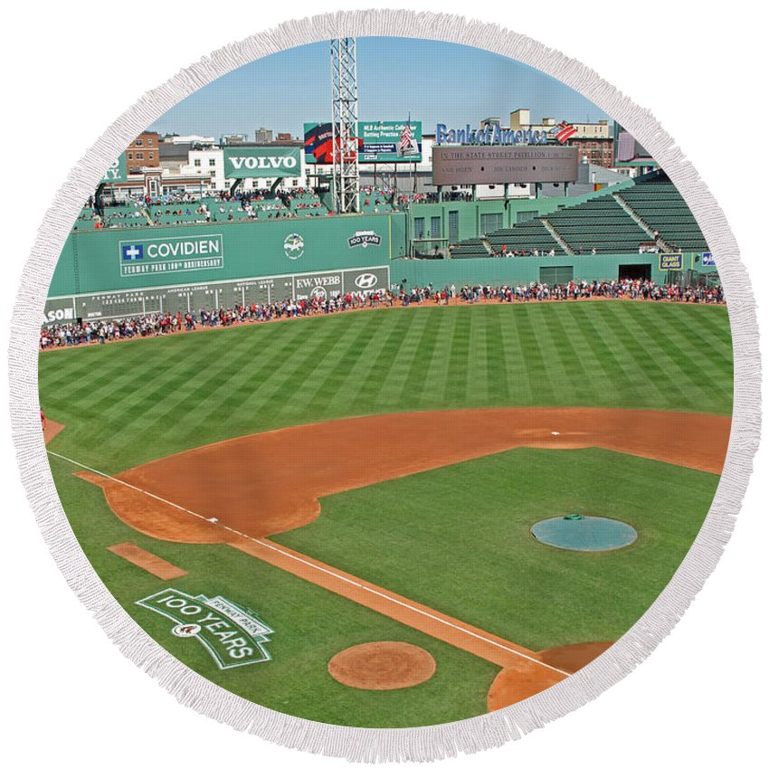 Fenway Park Round Beach Towel featuring the photograph Fenway One Hundred Years by Barbara McDevitt