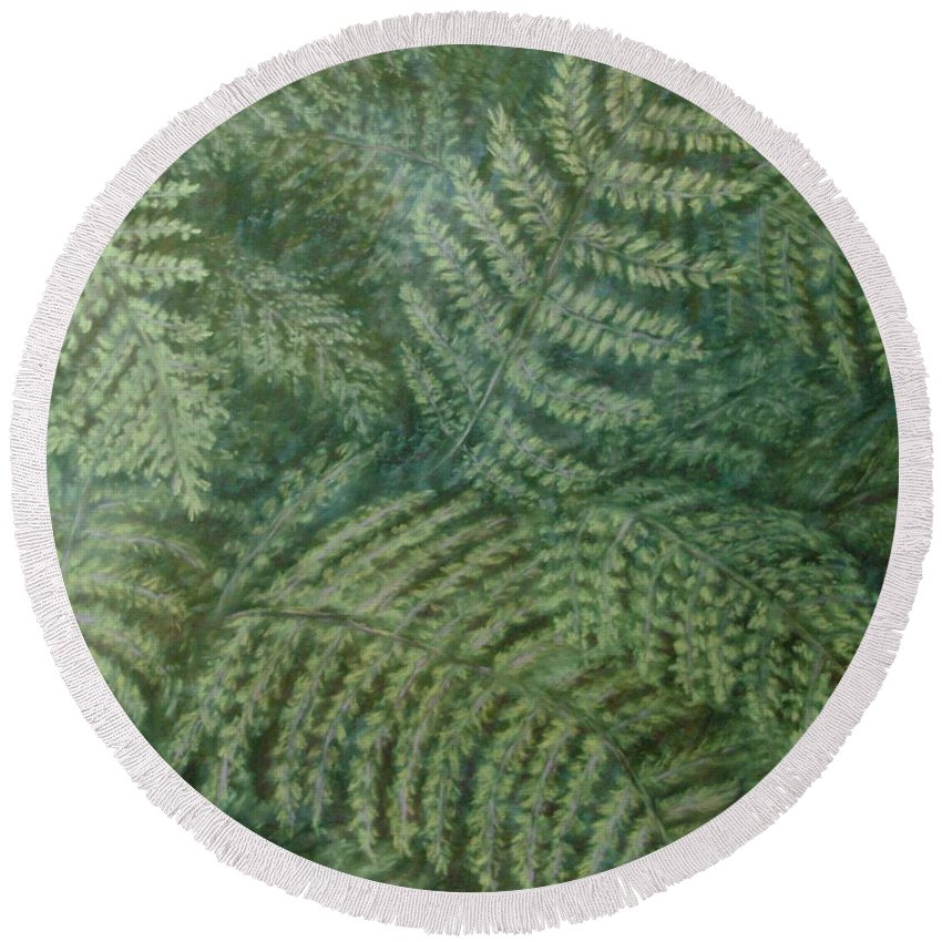 Pastel Round Beach Towel featuring the pastel Fern Frenzy by Joann Renner