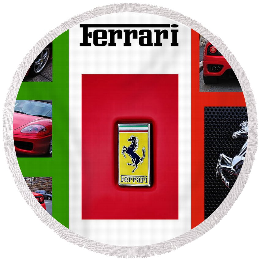 Photography Round Beach Towel featuring the photograph Ferrari Collage On Italian Flag by Kaye Menner