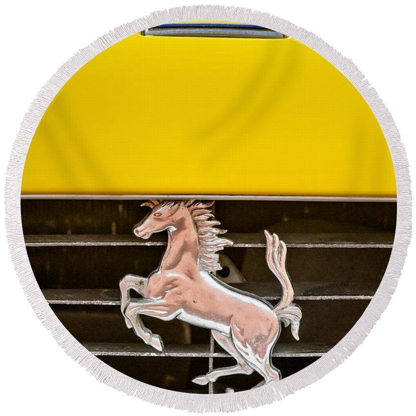 Ferrari Dino Grille Emblem Round Beach Towel featuring the photograph Ferrari Dino Grille Emblem -0750c by Jill Reger