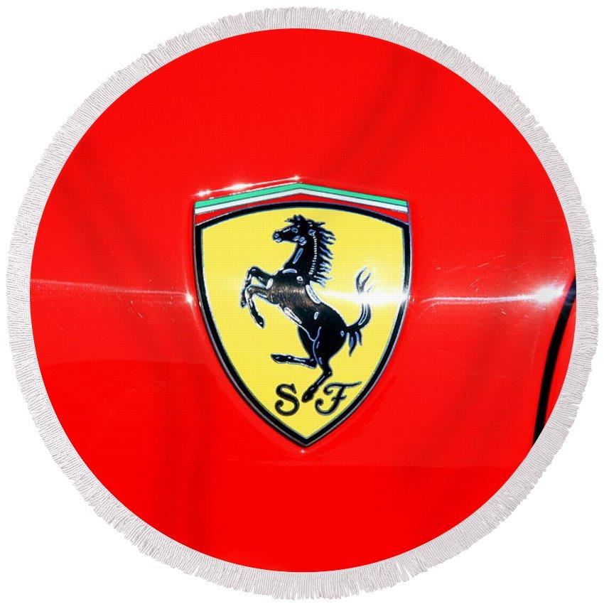 Ferrari Logo Round Beach Towel For Sale By Valentino Visentini