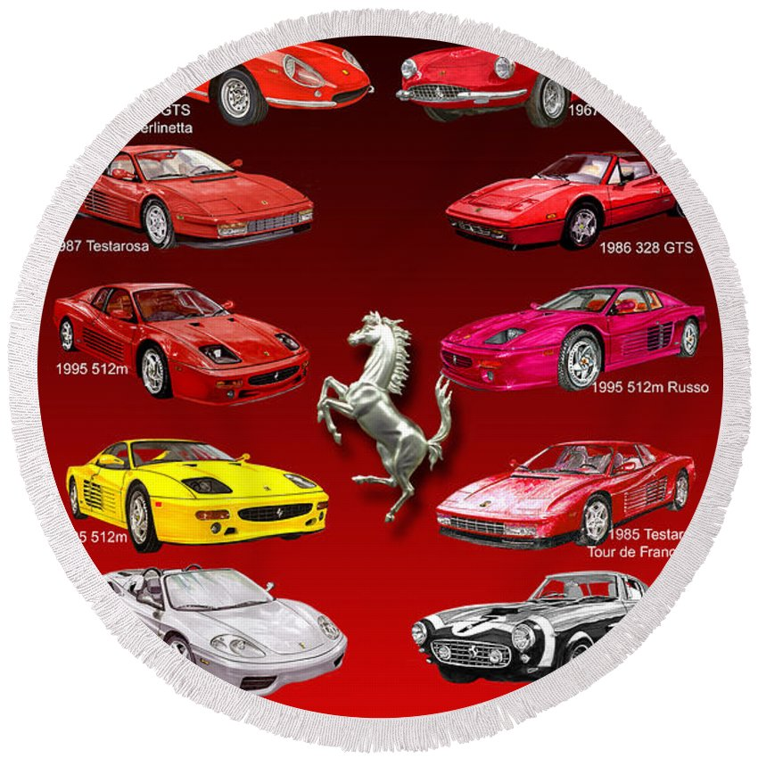 Framed Prints Of Ferrari Art Round Beach Towel featuring the painting Ferrari Sports Car Poster by Jack Pumphrey