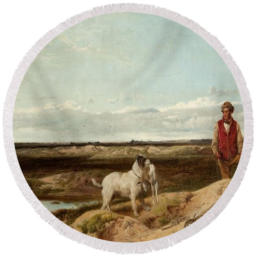 Ferreting Round Beach Towel featuring the painting Ferreting by Richard Ansdell