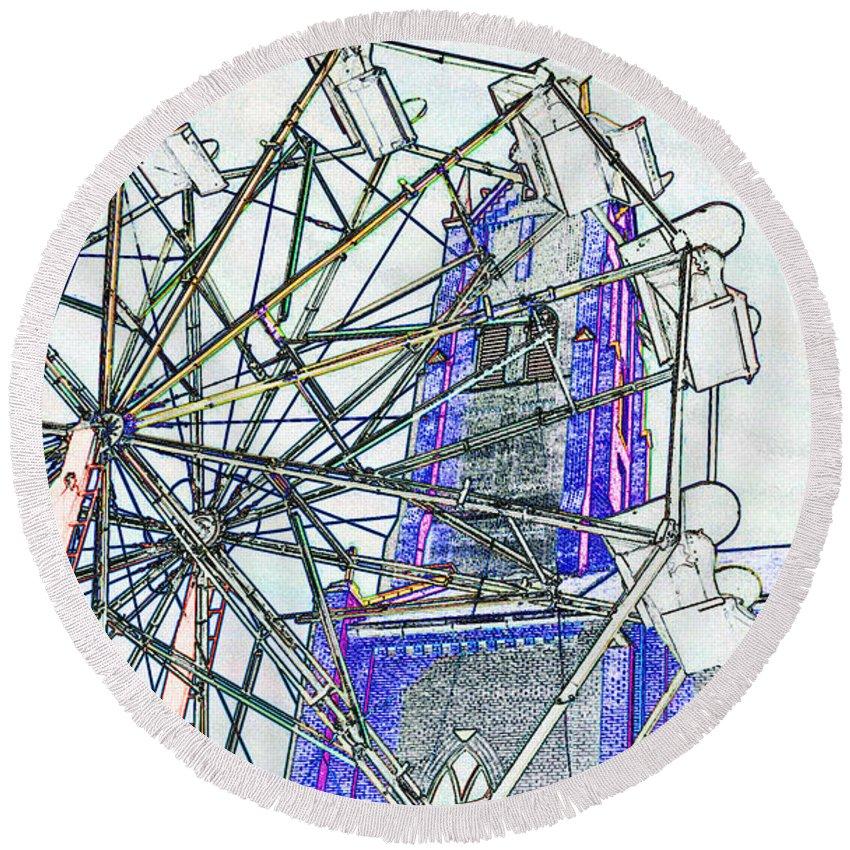 Church Round Beach Towel featuring the digital art Ferris Wheel 2 by Kimberlee Marvin