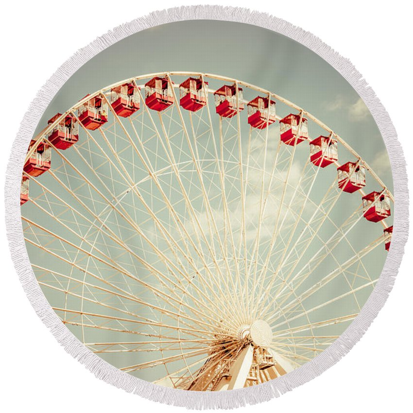 Ferris Wheel Round Beach Towels