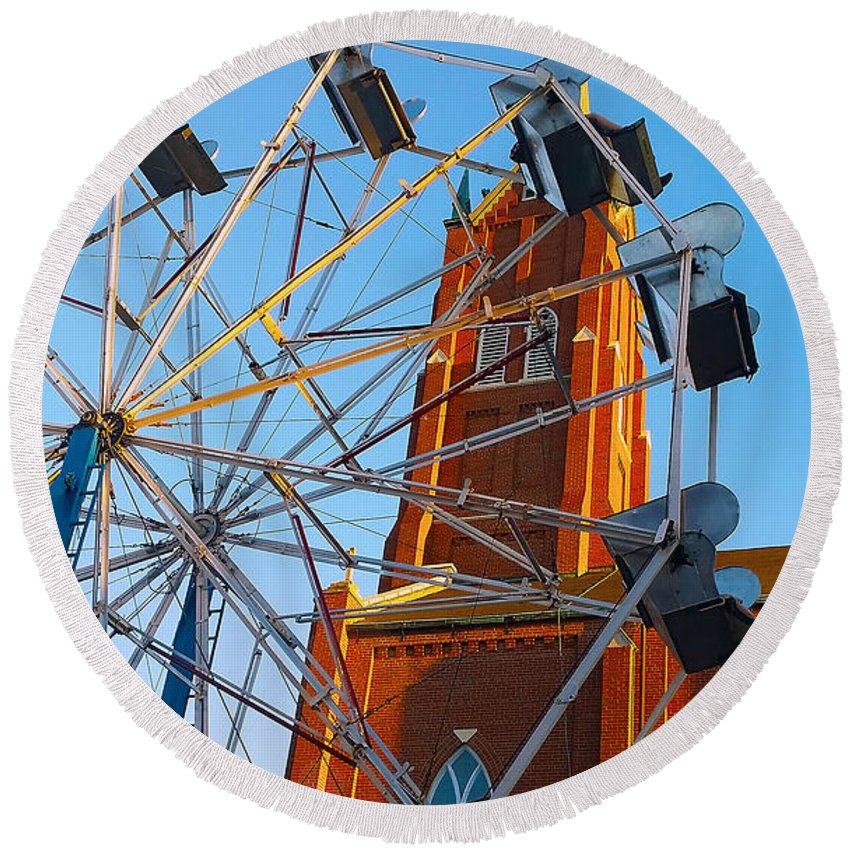 Church Round Beach Towel featuring the photograph Ferris Wheel by Kimberlee Marvin