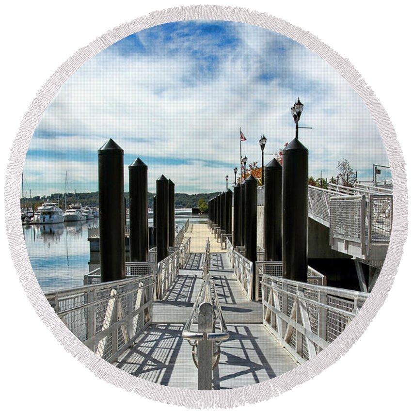 Dock Round Beach Towel featuring the photograph Ferry Dock by Bob Slitzan