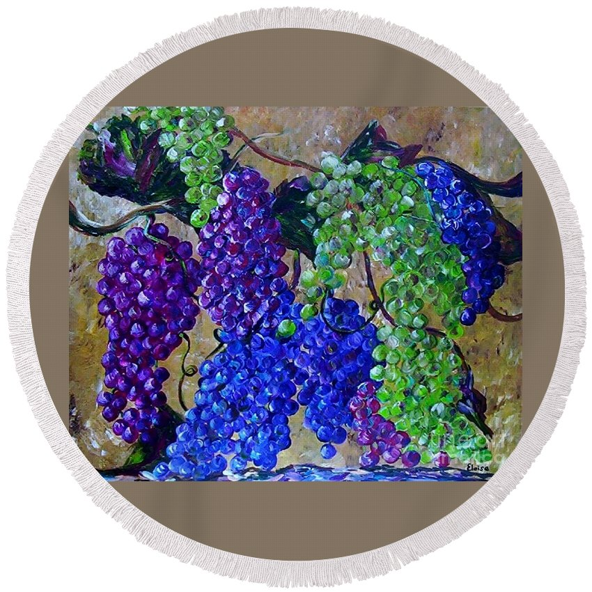 Grapes Round Beach Towel featuring the painting Festival Of Grapes by Eloise Schneider Mote