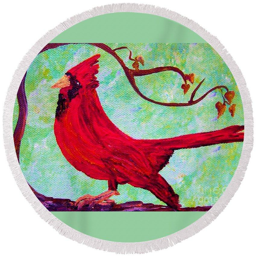 Bird Round Beach Towel featuring the painting Festive Cardinal by Eloise Schneider