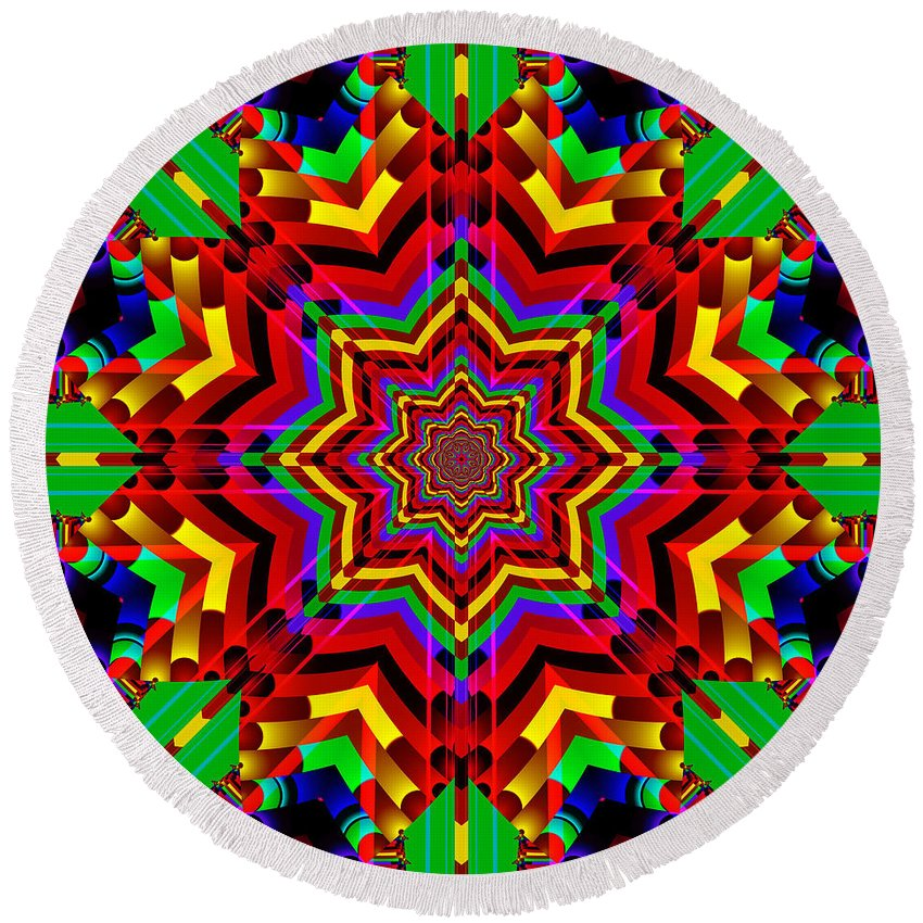 Ultra Fractal Round Beach Towel featuring the digital art Festive Colors by Mario Carini