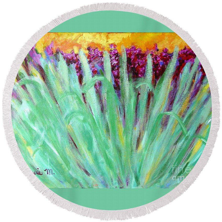 Abstract Round Beach Towel featuring the painting Festoon by Laurie Morgan